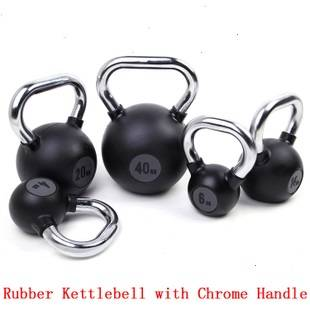 Chrome handle rubber kettlebell for body building