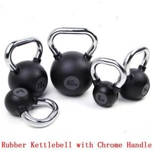Chrome handle rubber kettlebell for body building