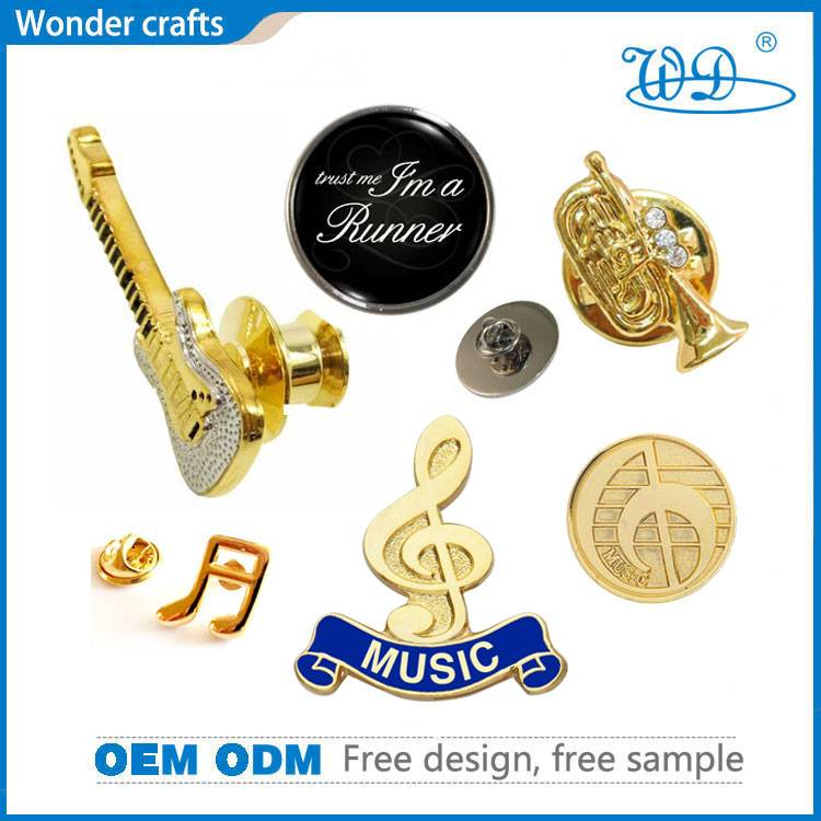 China Wholesale Diecast Hollow out Zinc Alloy Gold Plating Hard Enamel Music Badge Pins