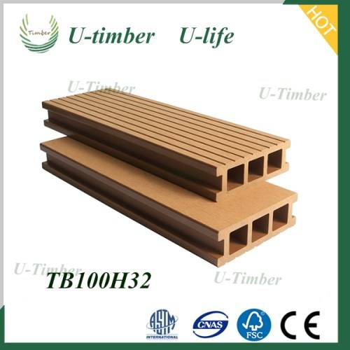 Fast color and various styles wood plastic composite WPC decking floor