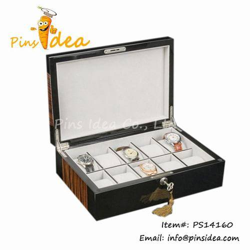 Wooden Watch Display Box Watch Box for Eight TImepiece Cream Velvet Lined Lock and Key Great Gift fo