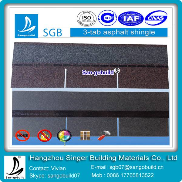3-tab asphalt shingles for building roofing material from china
