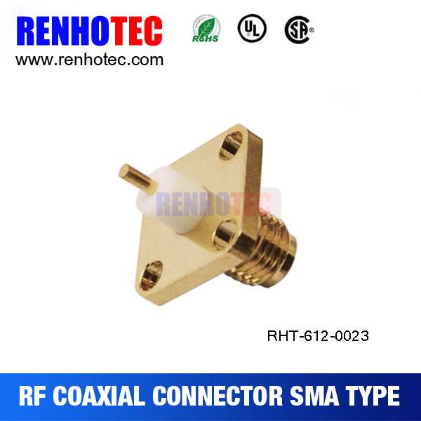 SMA female jack chassis panel mount 4 hole solder RF connector straight