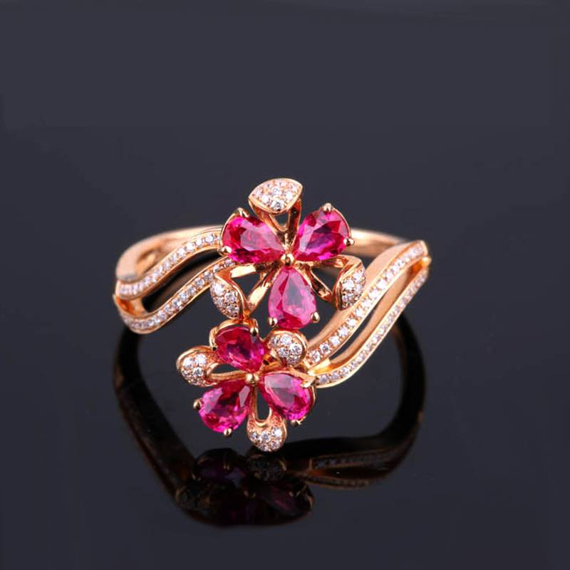Robira Ruby Ring 18K Gold & Gem Wedding Rings For Women