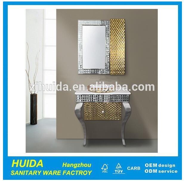 Modern Floor Mounted Single Sink Stainless Steel Bathroom Cabinet