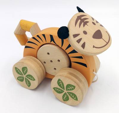 Wooden toy Jingle roller-tiger