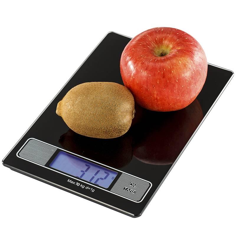 Tempered Glass Platform 10kg Backlit Screen Digital Kitchen Scale with clock function