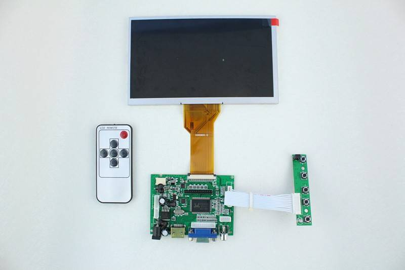HDMI+2AV +VGA of LCD driver board +AT080TN64 with 800*480+Remote control with receiver +OSD keypad w