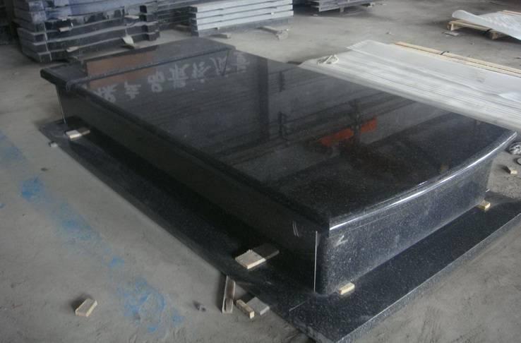 poland style india black granite headstone cover