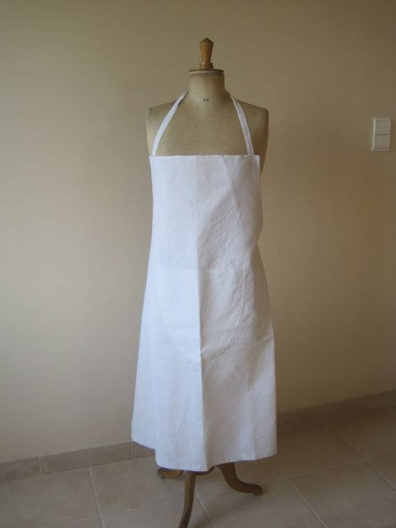 pure white linen catering apron