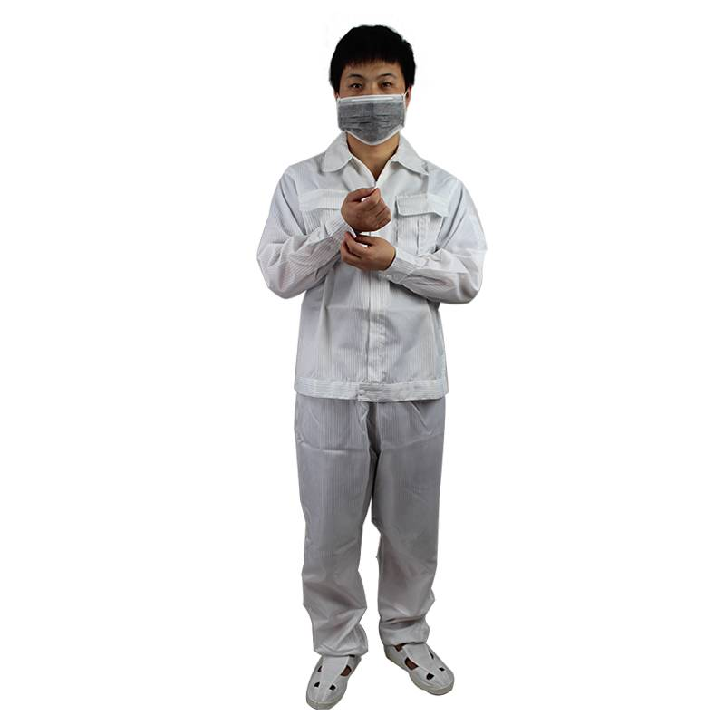 Customized Breathable Condctive Stripe Fiber No Dust Anti Static LAB Uniforms