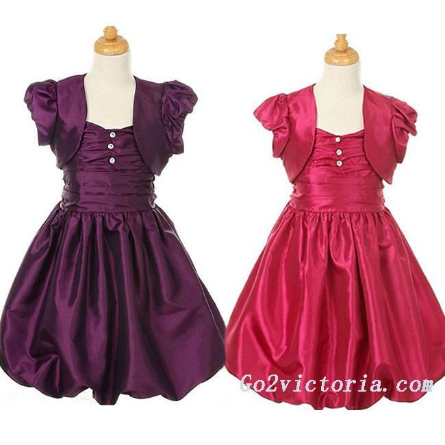 Wholesale taffeta 2 pieces flower girl dress (3012)