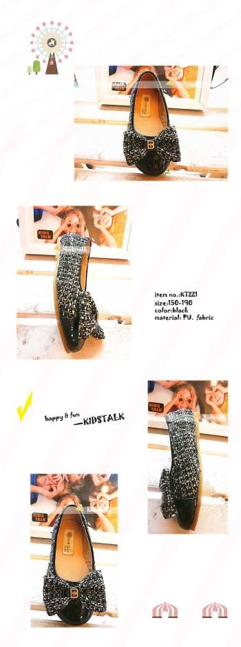 kidstalk pretty girl fabric gingham children's dress shoes KT221
