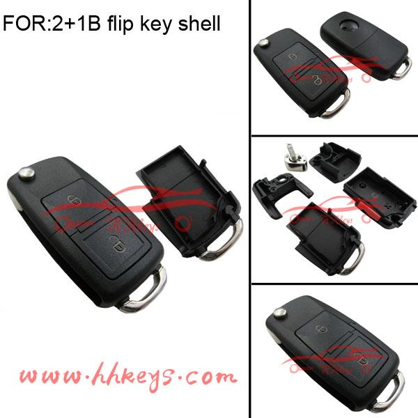 2+1 buttons flip key case without key blank for VW Volkswagen Passat Polo Golf Jetta Bora