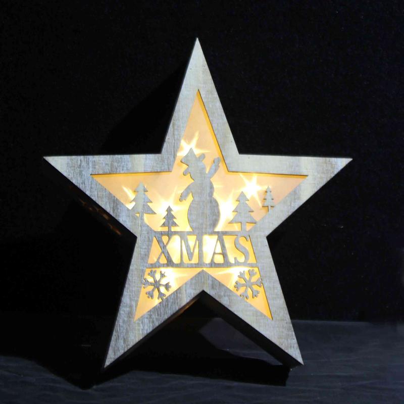 wooden star light for decoration childen christmas gift