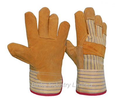 Sell yellow leather gloves pasted cuff