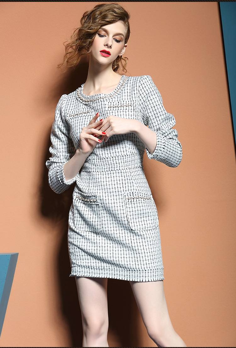 2015 alibaba hot sale nail bead round neck long sleeve dress for ladies