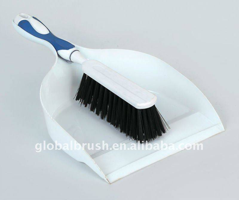 HQ0555 white color hand dustpan With TPR handle set/dustpan & brush