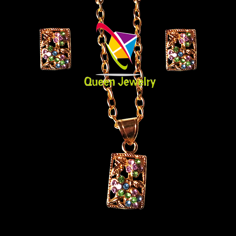 engraved necklace pendant earring wholesale party gift gold plated bright colorful rhinestone