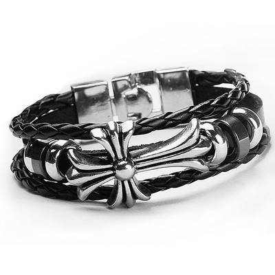 Fashion jewelry wholesale handmade custom cross man's black leather bracelet