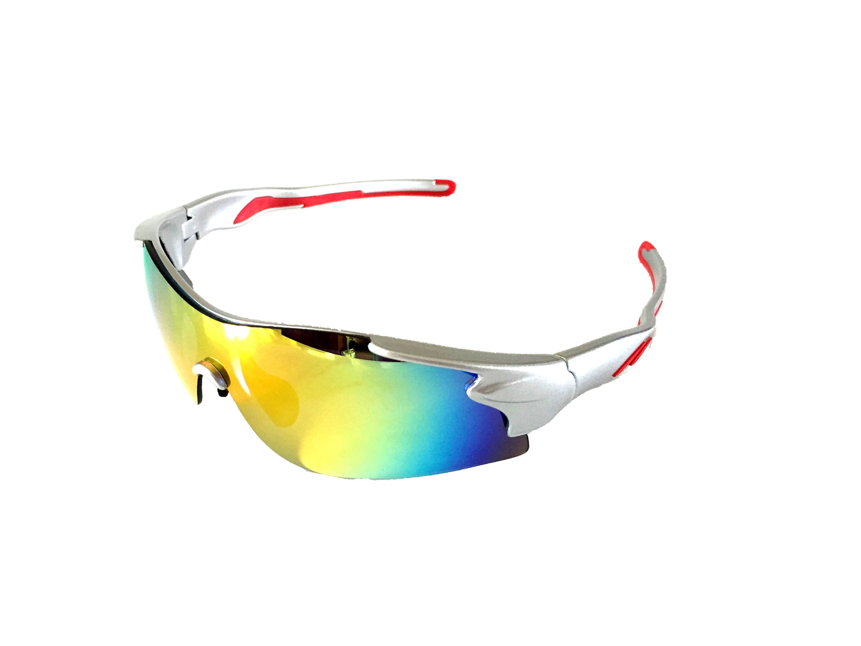 Sports sunglasses with double injection arm
