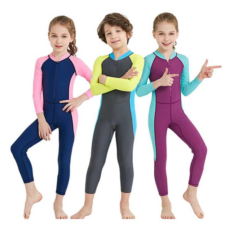 Children one-piece swimwear long sleeve rash guard kids swimsuit