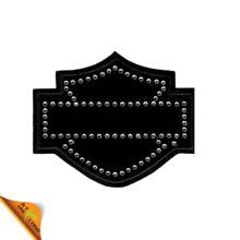 Shield Shape Black Fabric Rhinestone Patch Applique
