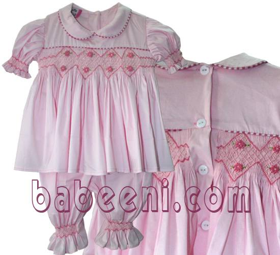 Pink smocked pajamas
