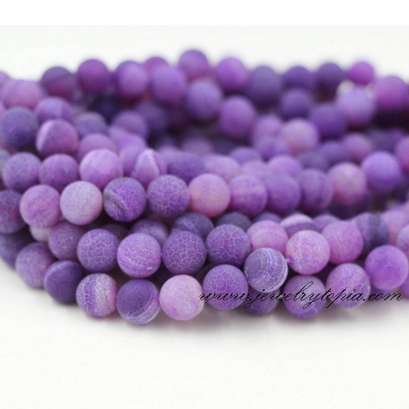 Wholesale Cheap Dyed Purple Cracked Agate Stone Beads Round Strings