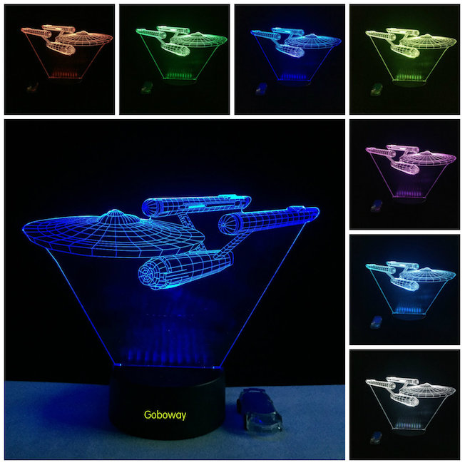 Star Trek USS Enterprise 3D LED Night Light 7 Color Touch Switch Table Desk LED Lamp