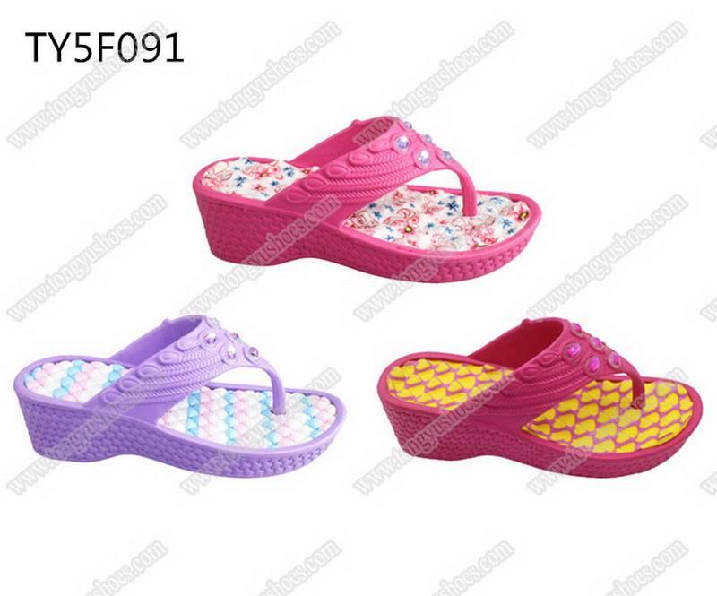 fancy rhinestones upper low wedge heels ladies slippers