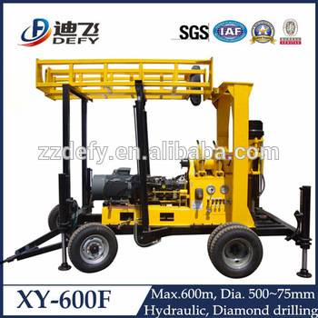 Hydraulic water well drilling rig price XY-600F borehole drilling machine for sale