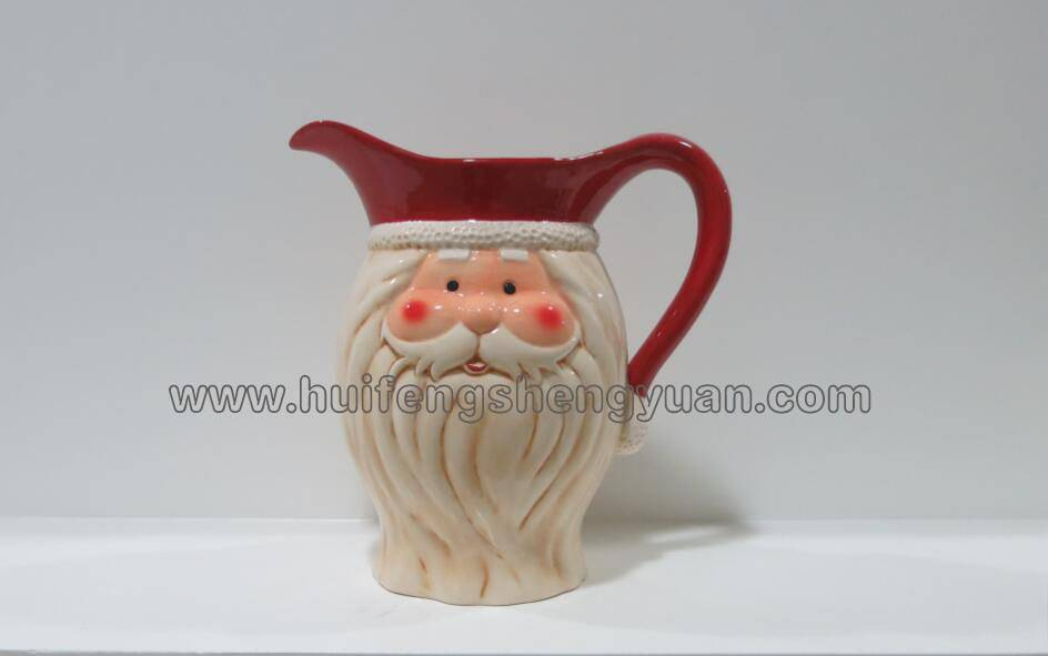 santa claus shape 100% handpained ceramic pitcher