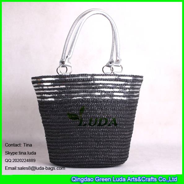 LUDA 2015 New Women Straw Handbag Black Wheat Straw Beach Bags