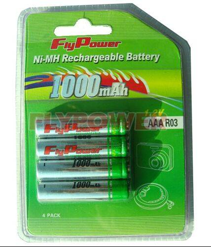 1.2V AAA1000mAh Ni-MH rechargeable battery