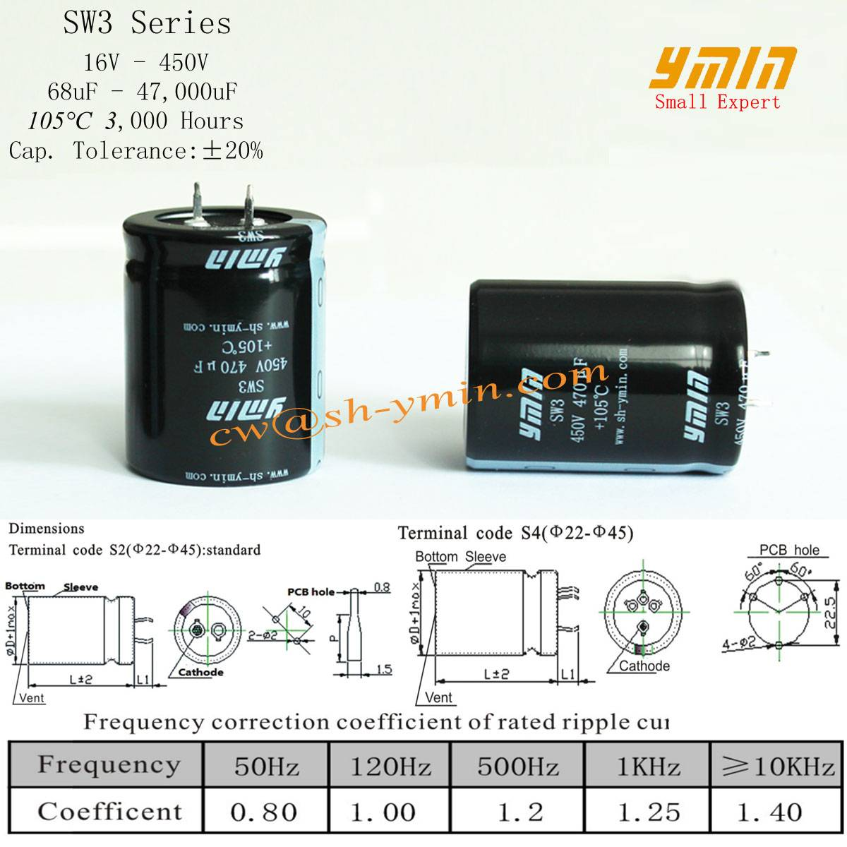 Long Life Capacitor Snap in Aluminum Electrolytic Capacitor for Renewable Energy Power Inverter
