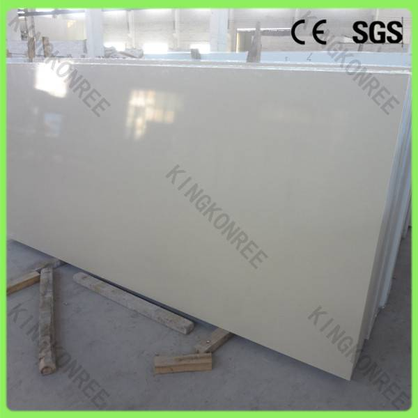 White Artificial Quartz Stone Slabs Engineered for Vanity Top Commercial