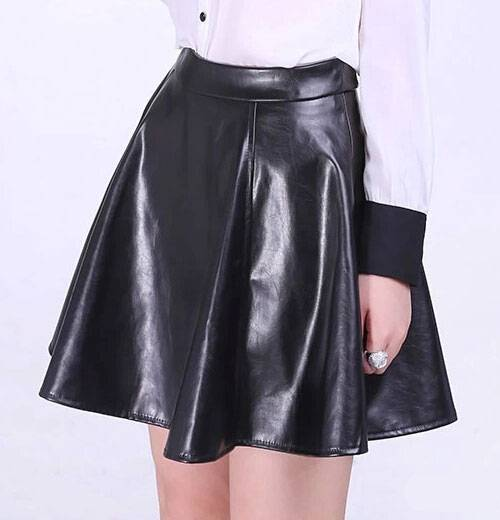 Leather Fabric Black Solid Ladies Fashion Skirts