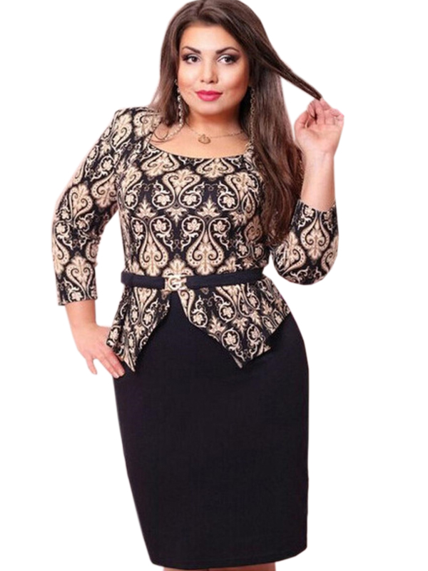 2017 New Arrival Plus Size Long Sleeve O Neck Women Causal Dress