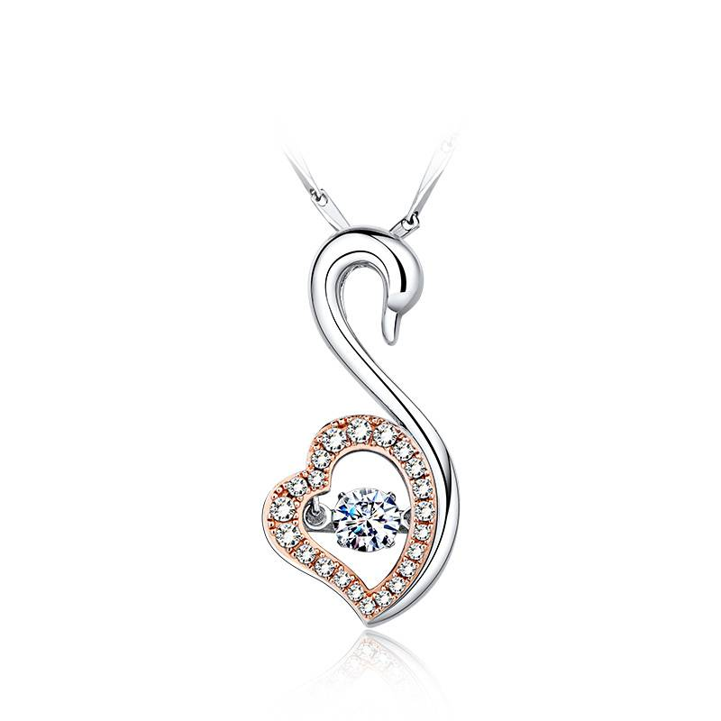 The heart of the swan Collarbone female silver chain necklace set with swarovski zircon