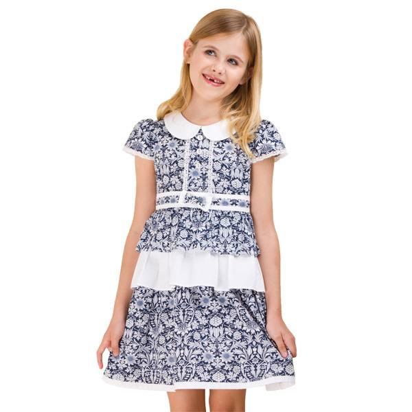 2013 girls dress,layered dress with Vintage printing(GG-211S3)