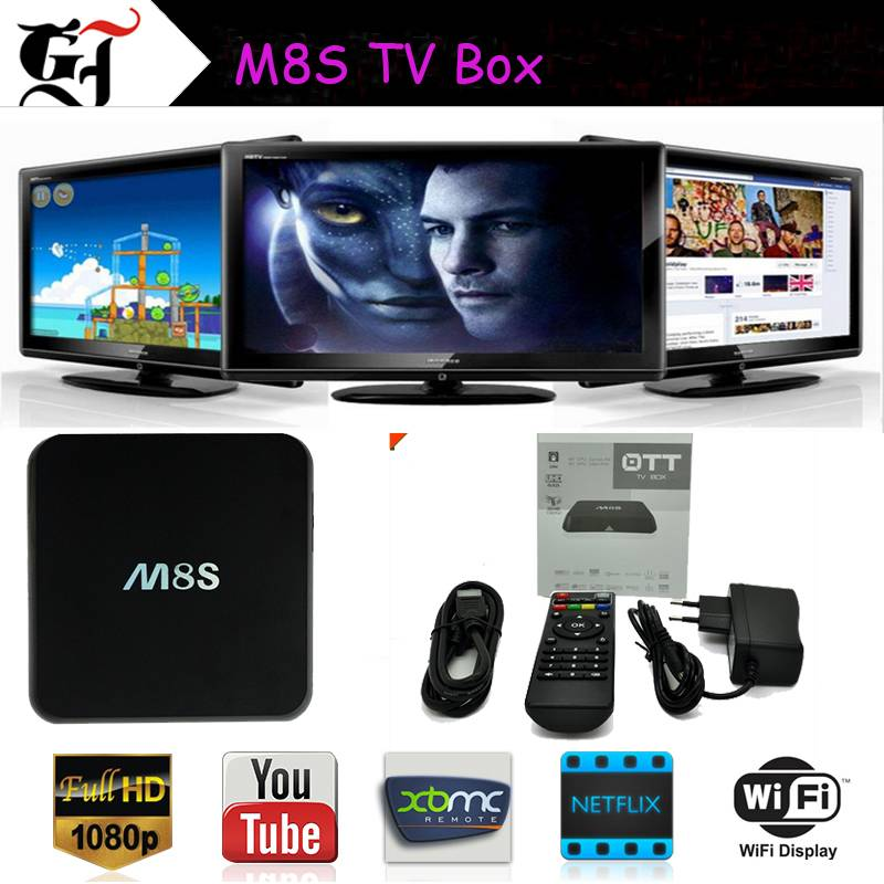 2015 newest Top Quality Amlogic S812 Quad Core M8S Android Smart TV Box HCY
