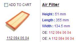 air filter 112 094 0604