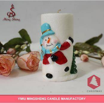 Decoration snowman and christmas tree craft candle