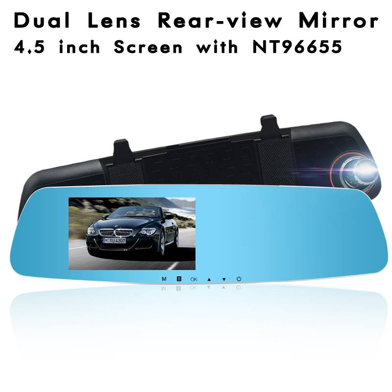 NT96655 HD Dual Lens Rearview Mirror With 4.5 Inch Screen