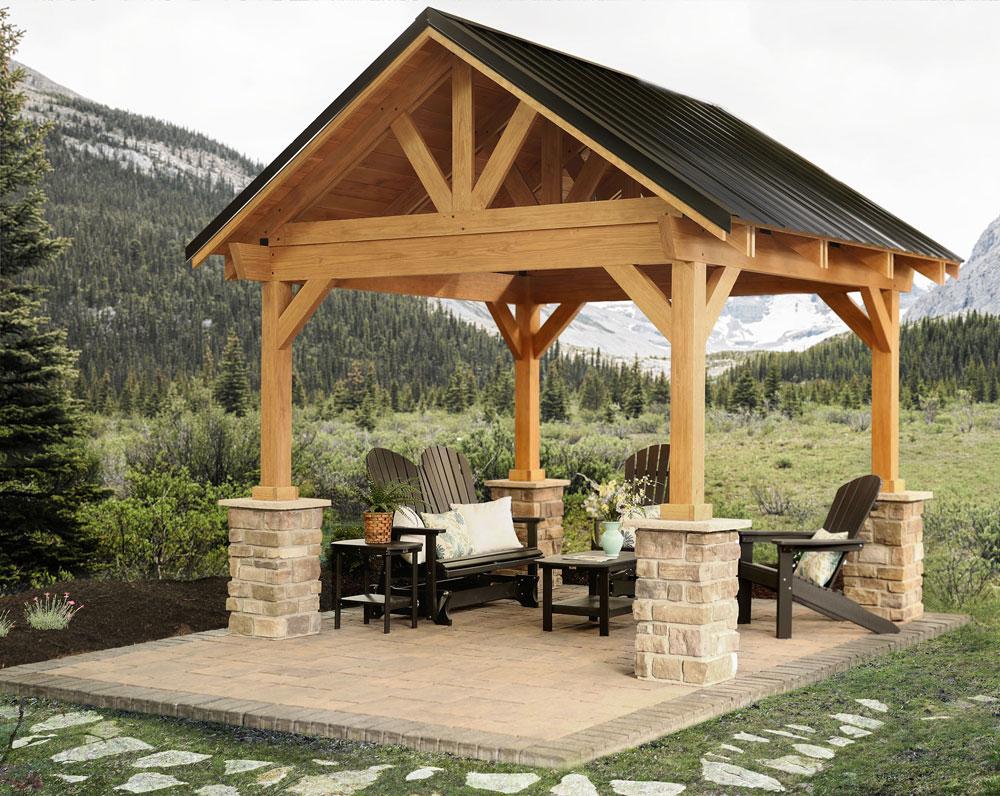 wooden outdoor modern gazebo