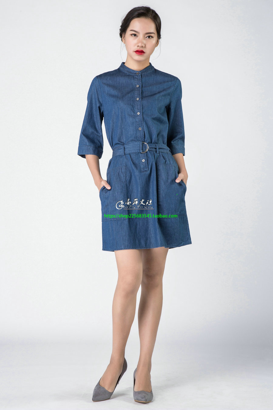 Gaoping  Wenqiong G1607 women cotton round neck half sleeve dress