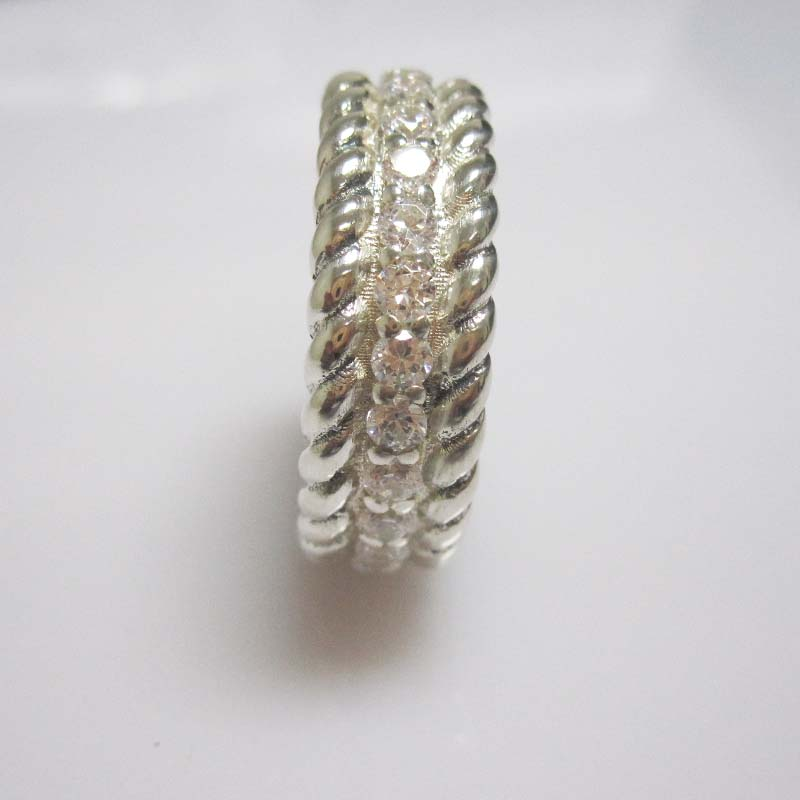 Sterling Silver Men's Jewelry Pave White Diamonds Band Ring (M-017)