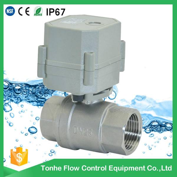 DN25 AC230V NSF61, 1 inch stainless steel electric water flow control valve T25S2-C