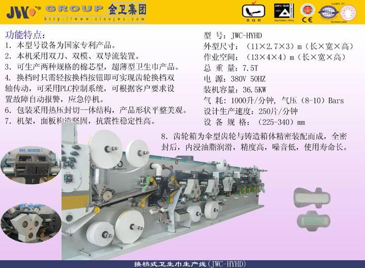 Shifting Type Wings Sanitary Napkin MachineJWC-HYHD